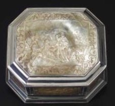 Mother of Pearl Carved Snuff Box