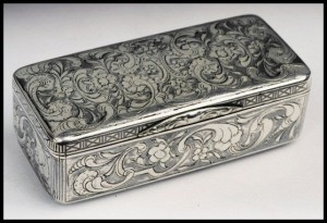 Russian Niello Silver Snuff Box