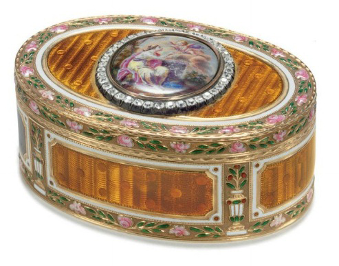 Russian snuffbox by Faberge and Michael Perchin